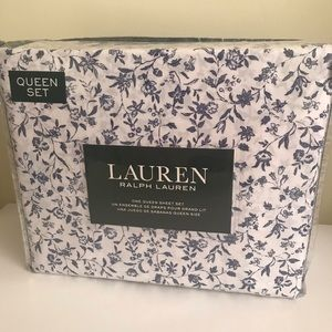 Ralph Lauren Queen Sheet Set Floral Cottage Chic